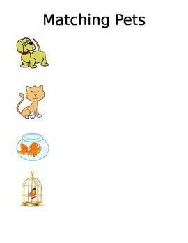 Matching Pet Animals Vocabulary