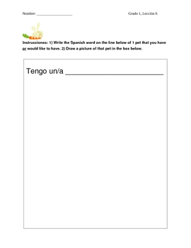 """Matching Pets in Spanish and Practicing """"Tengo"""""""