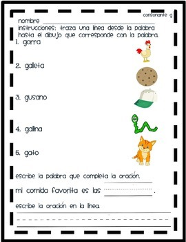 Matching Pictures that start with G syllable in Spanish