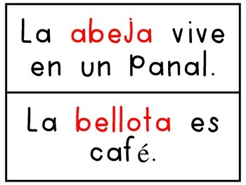 Matching Pictures with Sentences from A-Z (Spanish)