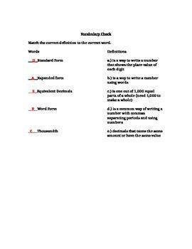 Matching Place Value Vocabulary Quiz