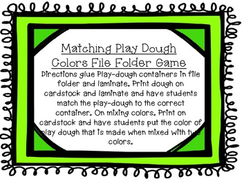 Matching Play Dough Colors File Folder Game Freebie