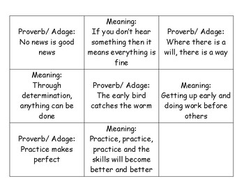 Matching Proverbs and Adages