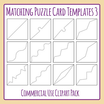 Matching Puzzle Card Templates 3 for Matching Games Clip Art