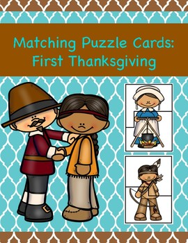 Matching Puzzle Cards: First Thanksgiving