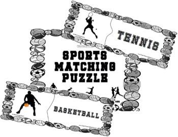 Matching Puzzle - Sports (B&W)