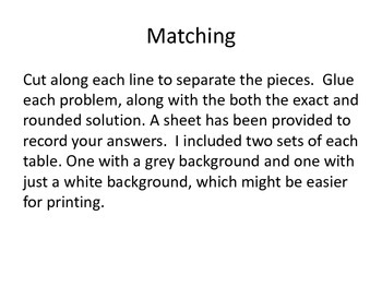 Matching Quadratic Equations with solutions
