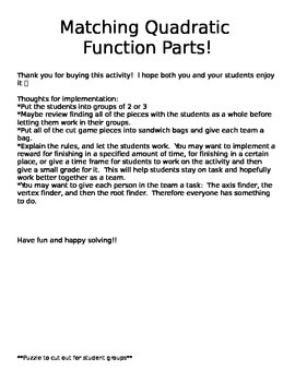 Matching Quadratic Functions Parts
