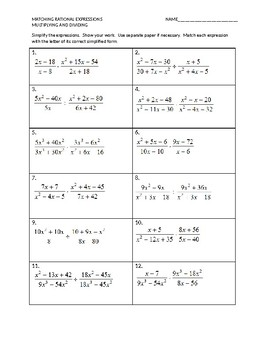 Matching Rational Expressions Multiplying and Dividing
