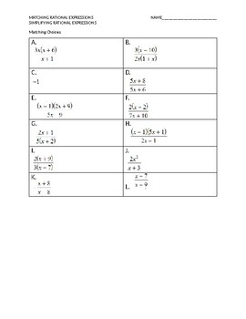 Matching Rational Expressions Simplify