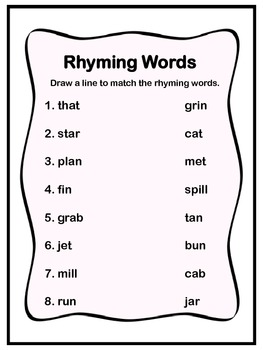 Matching Rhyming Words!