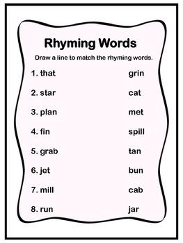 Matching Rhyming Words!