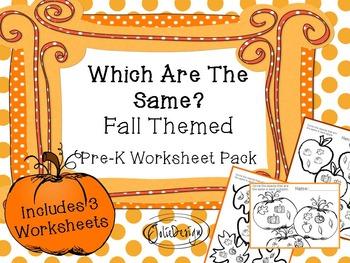 Same/Different 'Same' PreK Worksheet - Fall Themed