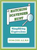 Matching Scavenger Hunt- Simplifying Algebraic Expressions