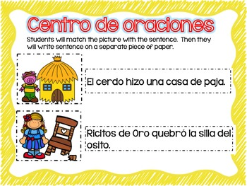 Matching Sentences in Spanish FAIRY TALES