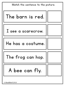 Matching Sentences to Pictures 2-for Early Comprehension Skills, Interactive