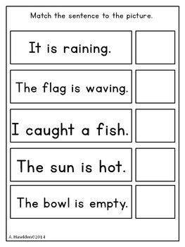Matching Sentences to Pictures: Early Comprehension Activity, Interactive