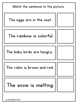 Matching Sentences to Pictures Spring Edition
