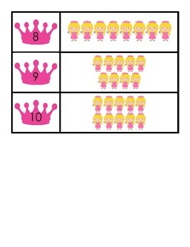 Matching Sets 0 to 10 Princess Theme