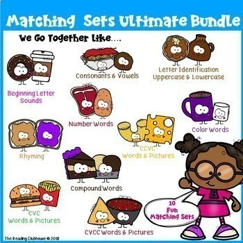 Matching BUNDLE - Vowels, Consonants, Sounds, Rhyming, CVC, CVCC, CCVC and more!