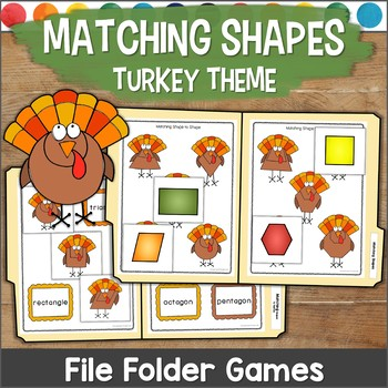 Matching Shapes File Folder Games TURKEY THEME