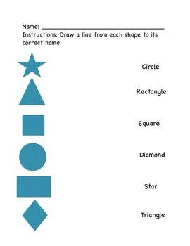 Matching Shapes for Pre-K or K students