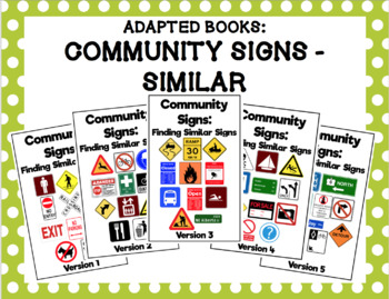 Matching Similar Community Signs Adapted Book Bundle