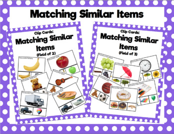 Matching Similar Items Clip Cards
