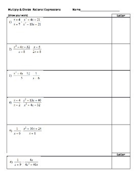 Matching - Simplifying Rational Expressions