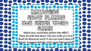 Matching Snowflakes NWF Game