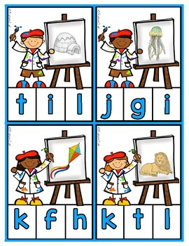 Matching Sounds to Letters - Little Artist Phonics Clip Cards