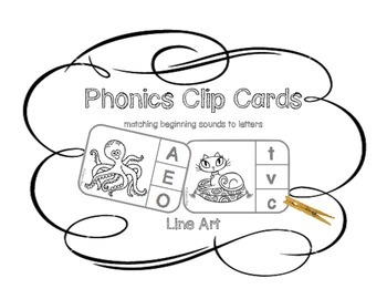 Matching Sounds to Letters - Phonics LINE ART Clip Cards