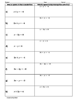 Matching Standard Form to Slope-Intercept Form Activity