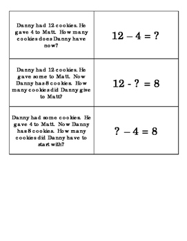 Matching Story Problems to Equations