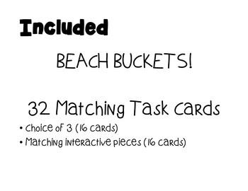 Matching Summer Beach Buckets- Task Cards
