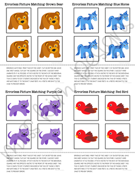 Matching Folder Game: Simple Brown Bear Icons for Special Education