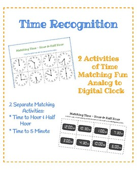 Matching Time Activity - Hour, Half Hour, 5 Minute Intervals