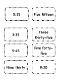Matching Time Cards (words to digital)