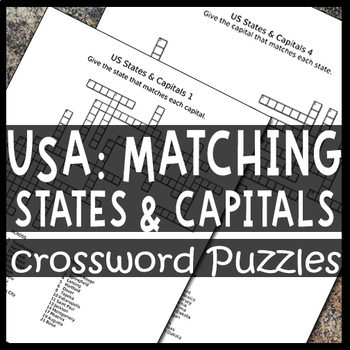 Matching US States & Capitals Crossword Puzzle Sheets
