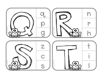 Matching Upper & Lowercase Letters: Independent Practice Clip Card - Frogs (B&W)