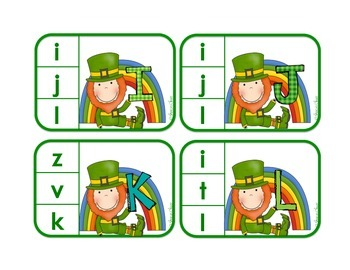 Matching Uppercase to Lowercase Letters - St. Patrick's Day Clip Cards