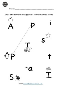 Matching Upper and Lowercase Letters Worksheets