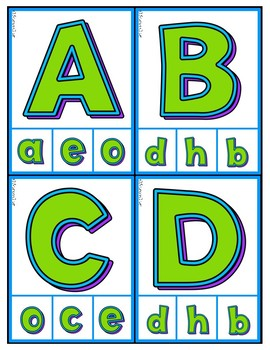 Matching Upper to lowercase Letters - Independent Practice Clip Cards