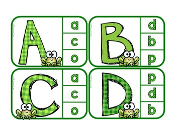 Matching Upper to lowercase Letters - Independent Practice Clip Cards with Frogs