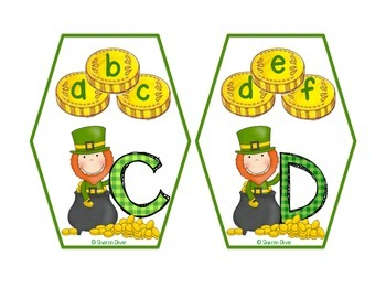 Matching Uppercase and Lowercase Letters - St. Patrick's Day Clip Cards