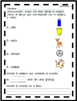 Matching V Words in Spanish