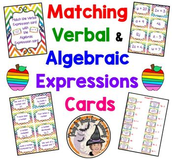 Matching Verbal and Algebraic Expressions Card Match Algebra Expression + KEY