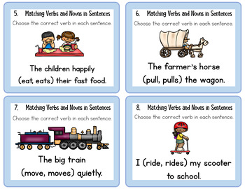 Matching Verbs and Nouns in Sentences Task Cards L.1.1.C
