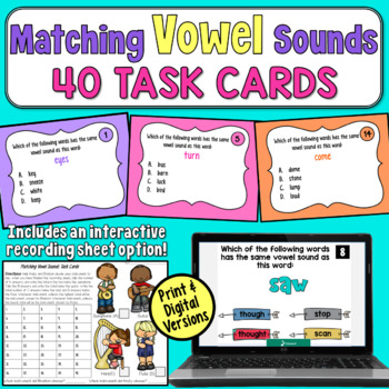 Matching Vowel Sounds Task Cards