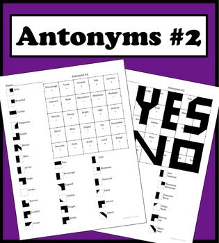 Matching Words With Its Antonym Color Worksheet #2